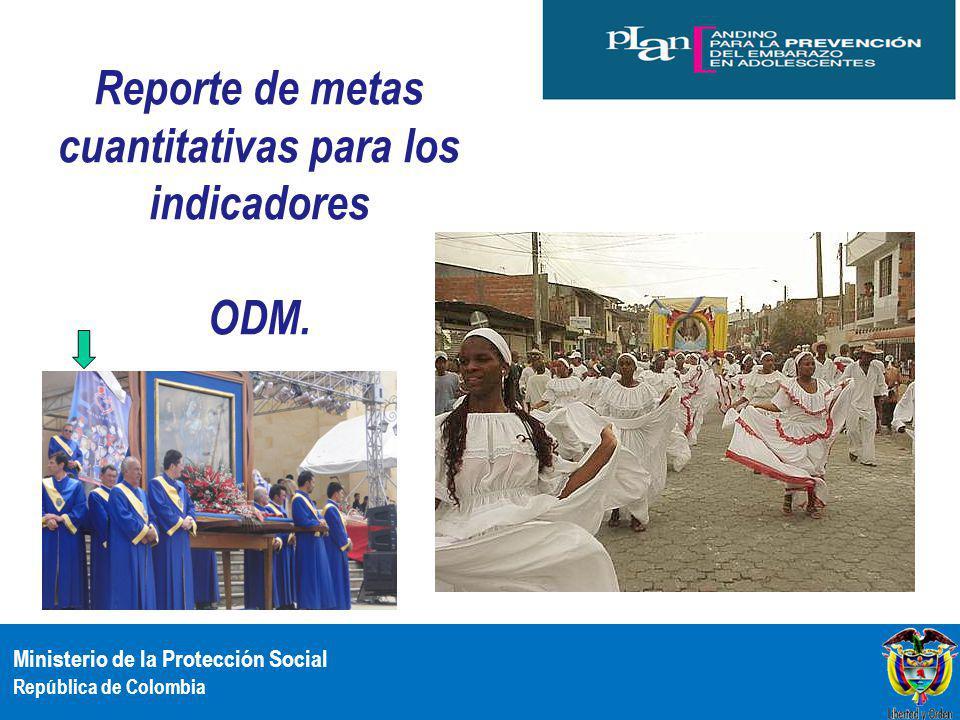 Reporte de metas cuantitativas para los indicadores ODM.