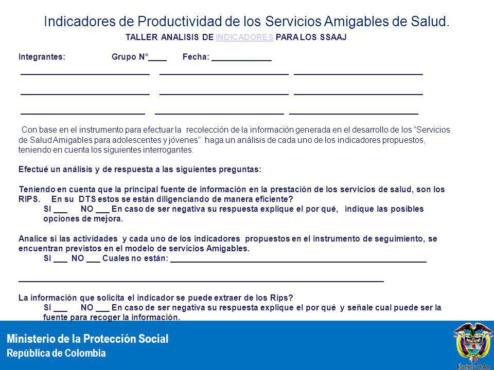 Indicadores de Productividad de los Servicios Amigables de Salud.