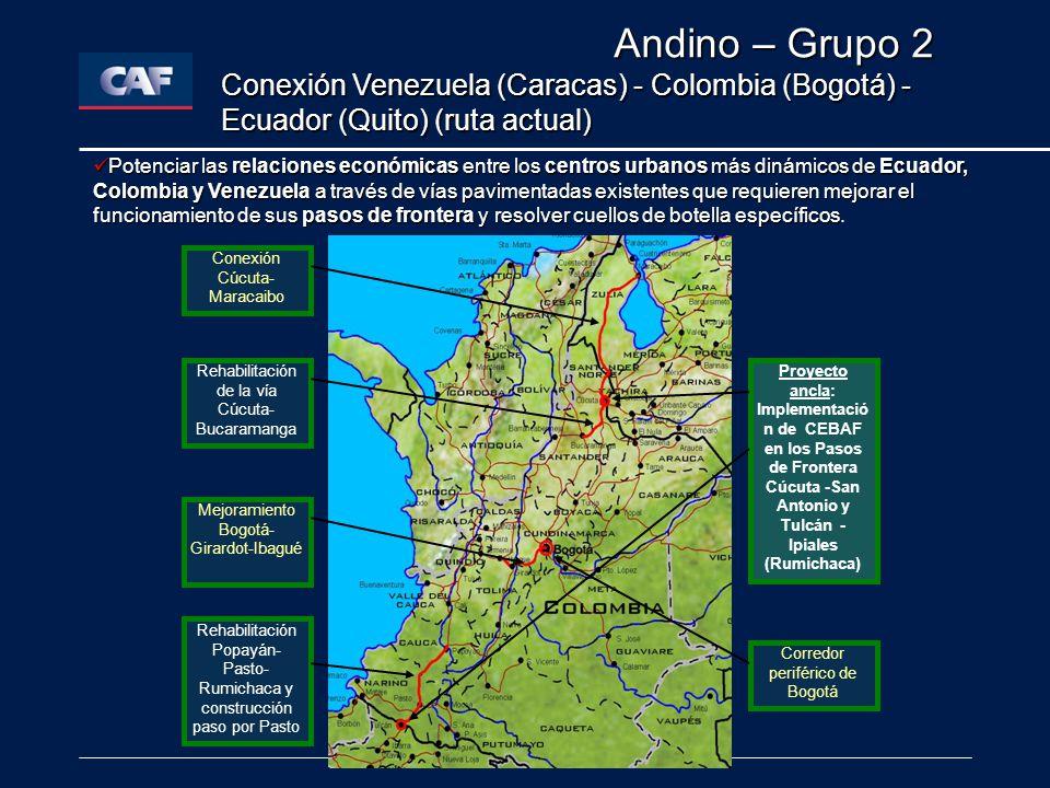 Andino – Grupo 2 Conexión Venezuela (Caracas) - Colombia (Bogotá) - Ecuador (Quito) (ruta actual)