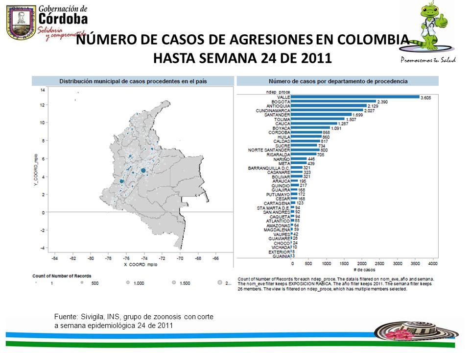 NÚMERO DE CASOS DE AGRESIONES EN COLOMBIA