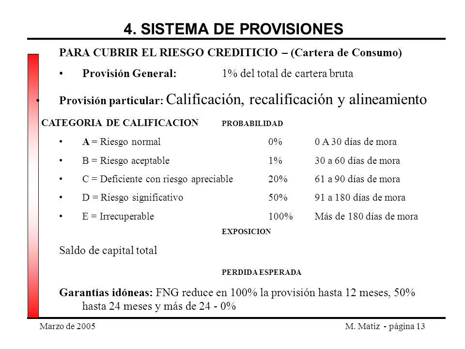 4. SISTEMA DE PROVISIONES