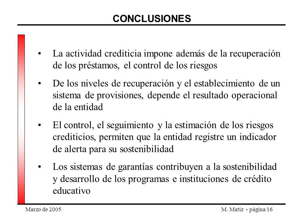 CONCLUSIONES La actividad crediticia impone además de la recuperación de los préstamos, el control de los riesgos.