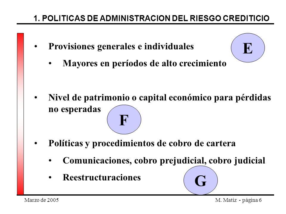 E F G Provisiones generales e individuales