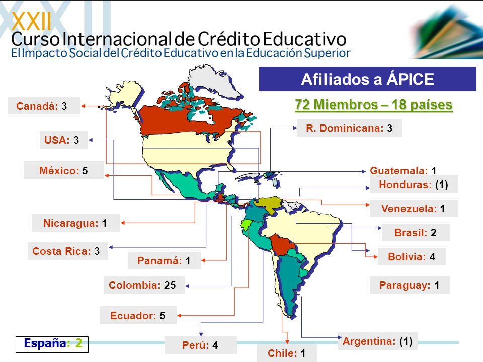 Afiliados a ÁPICE 72 Miembros – 18 países España: 2 Canadá: 3