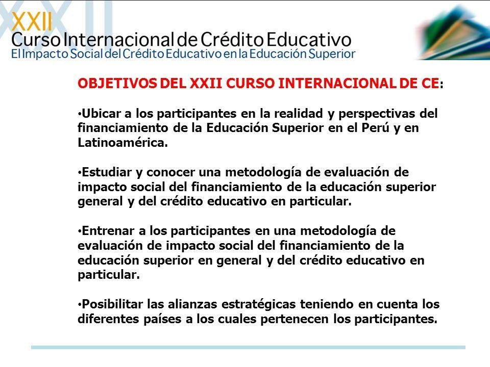 OBJETIVOS DEL XXII CURSO INTERNACIONAL DE CE: