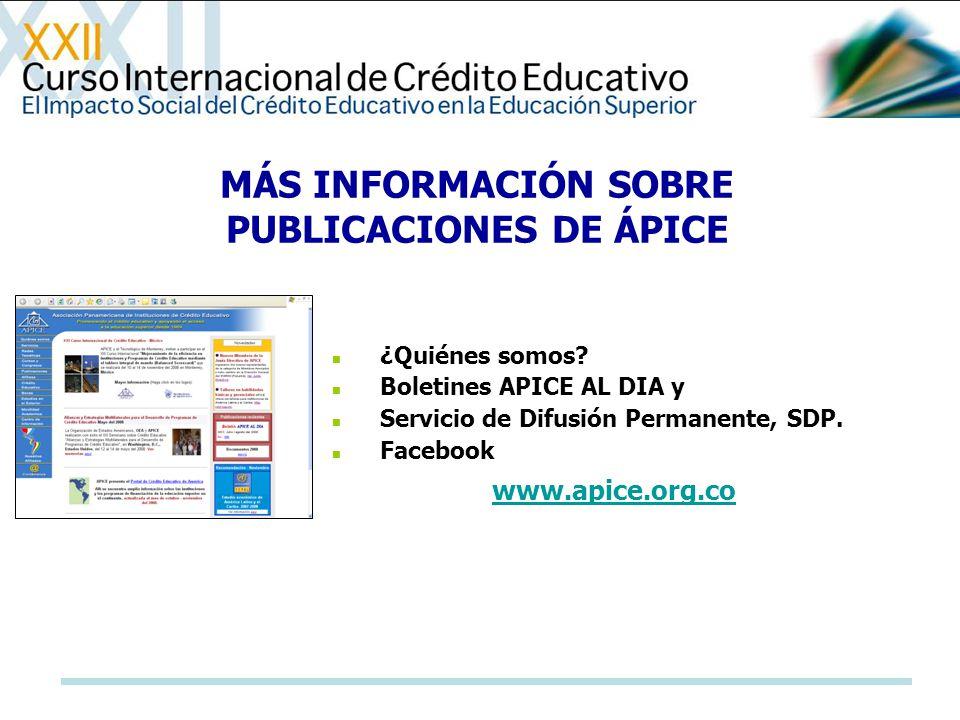 MÁS INFORMACIÓN SOBRE PUBLICACIONES DE ÁPICE