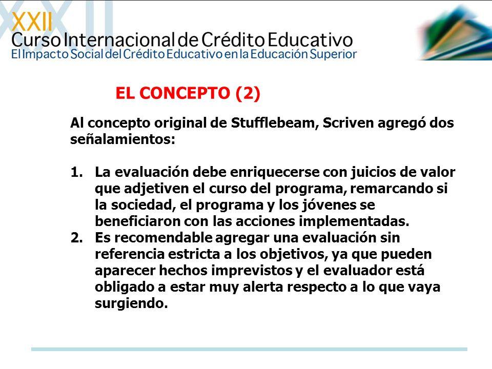 EL CONCEPTO (2) Al concepto original de Stufflebeam, Scriven agregó dos señalamientos:
