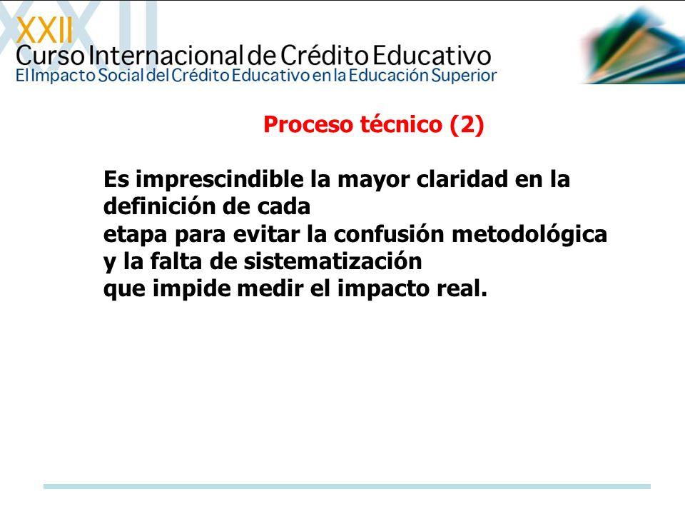 Proceso técnico (2) Es imprescindible la mayor claridad en la definición de cada.