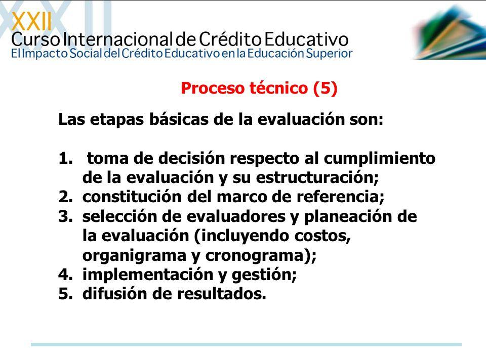 Proceso técnico (5) Las etapas básicas de la evaluación son: toma de decisión respecto al cumplimiento de la evaluación y su estructuración;
