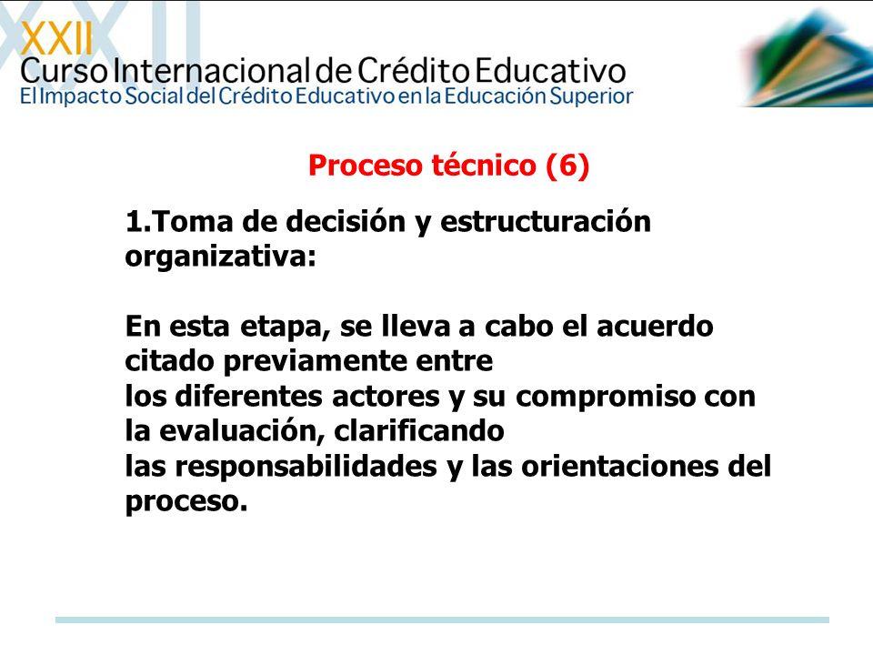 Proceso técnico (6) 1.Toma de decisión y estructuración organizativa: En esta etapa, se lleva a cabo el acuerdo citado previamente entre.