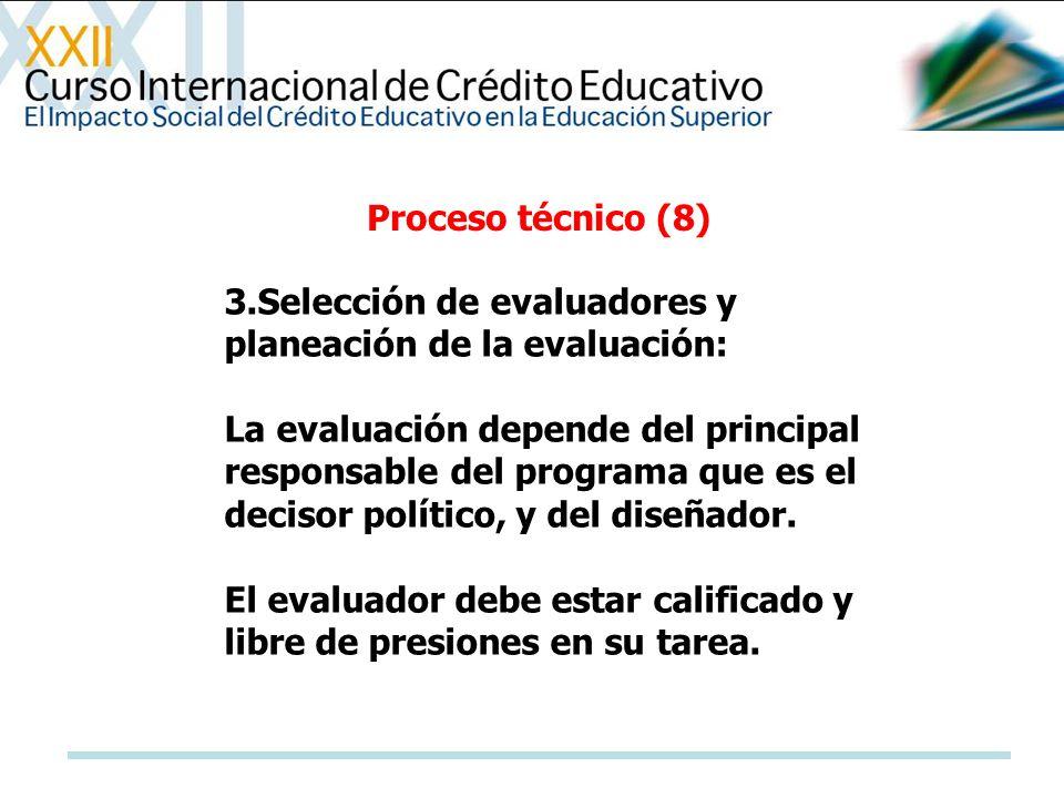 Proceso técnico (8) 3.Selección de evaluadores y planeación de la evaluación:
