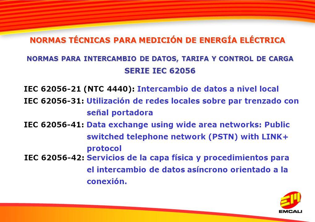 NORMAS PARA INTERCAMBIO DE DATOS, TARIFA Y CONTROL DE CARGA