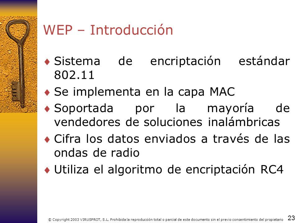 WEP – Introducción Sistema de encriptación estándar 802.11