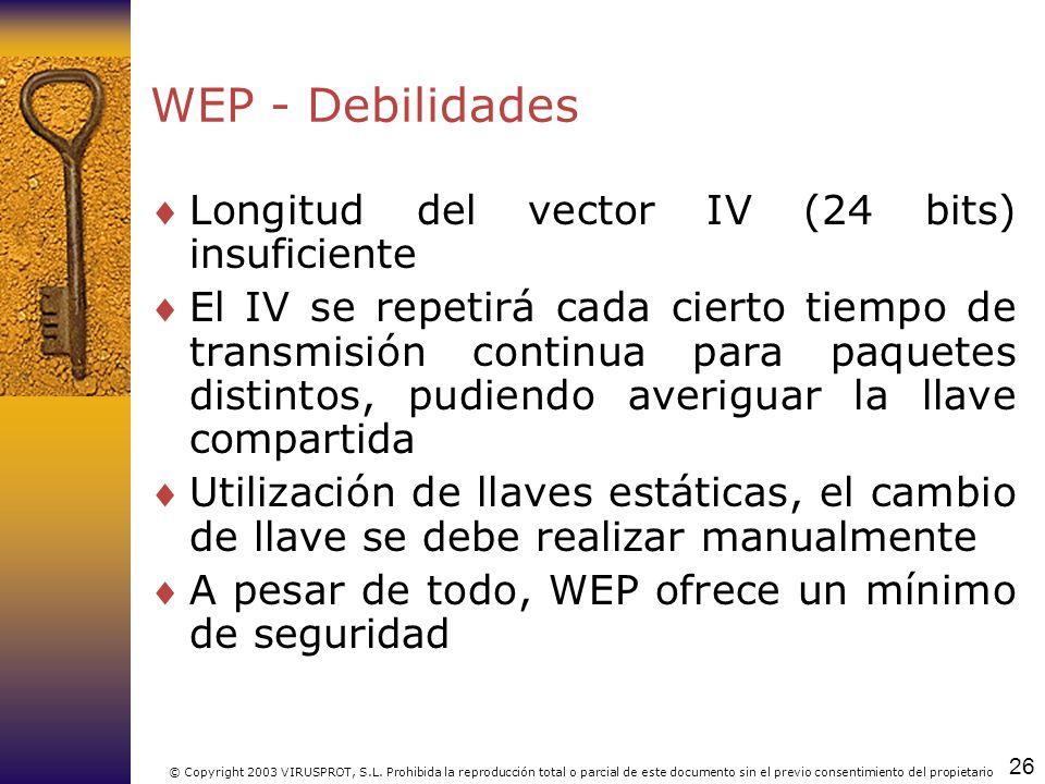 WEP - Debilidades Longitud del vector IV (24 bits) insuficiente