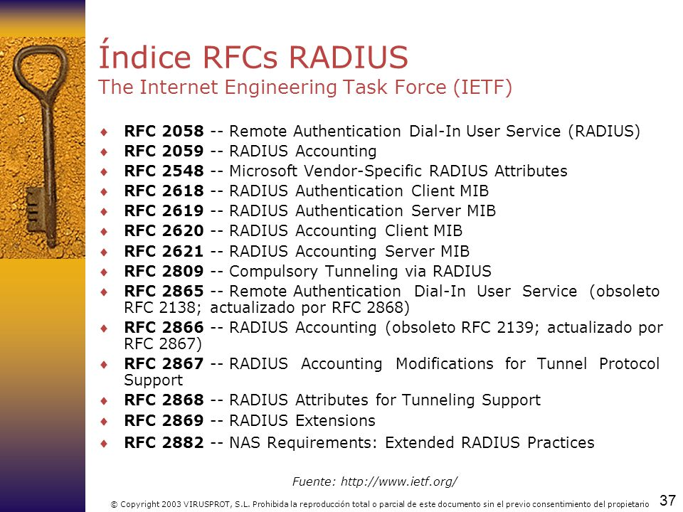 Índice RFCs RADIUS The Internet Engineering Task Force (IETF)