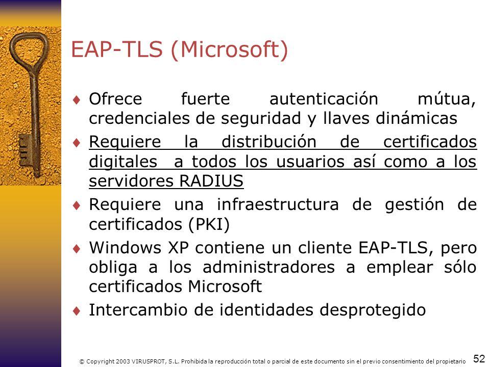 EAP-TLS (Microsoft) Ofrece fuerte autenticación mútua, credenciales de seguridad y llaves dinámicas.