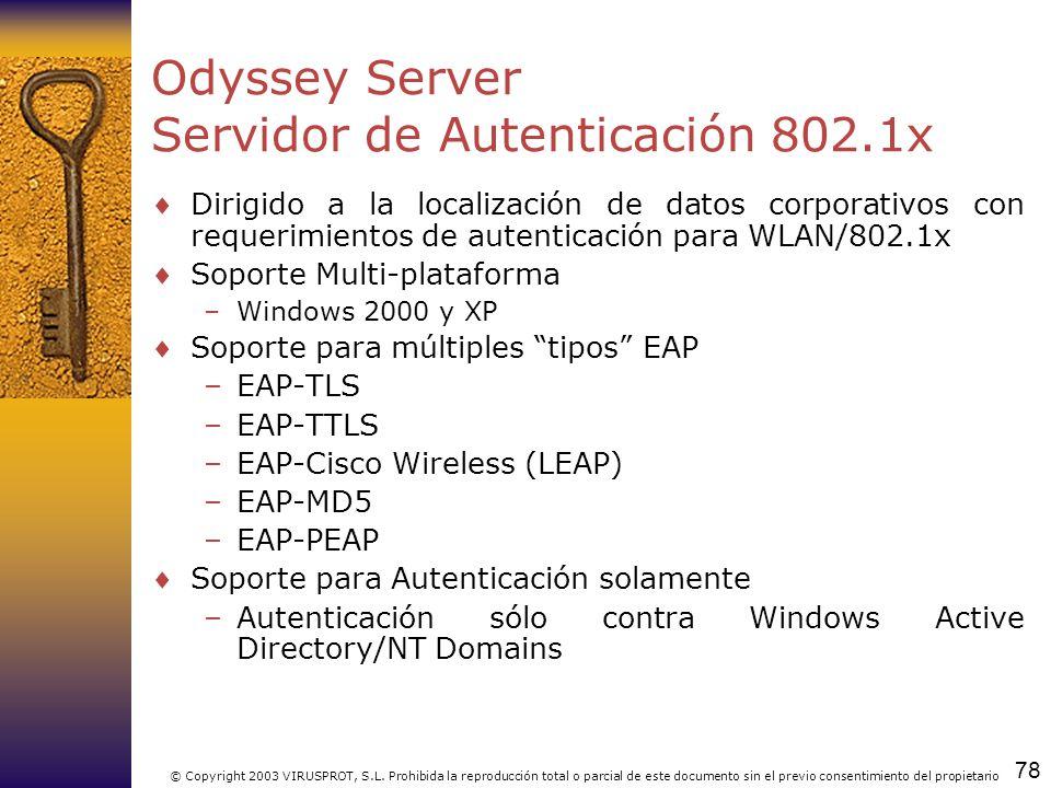 Odyssey Server Servidor de Autenticación 802.1x