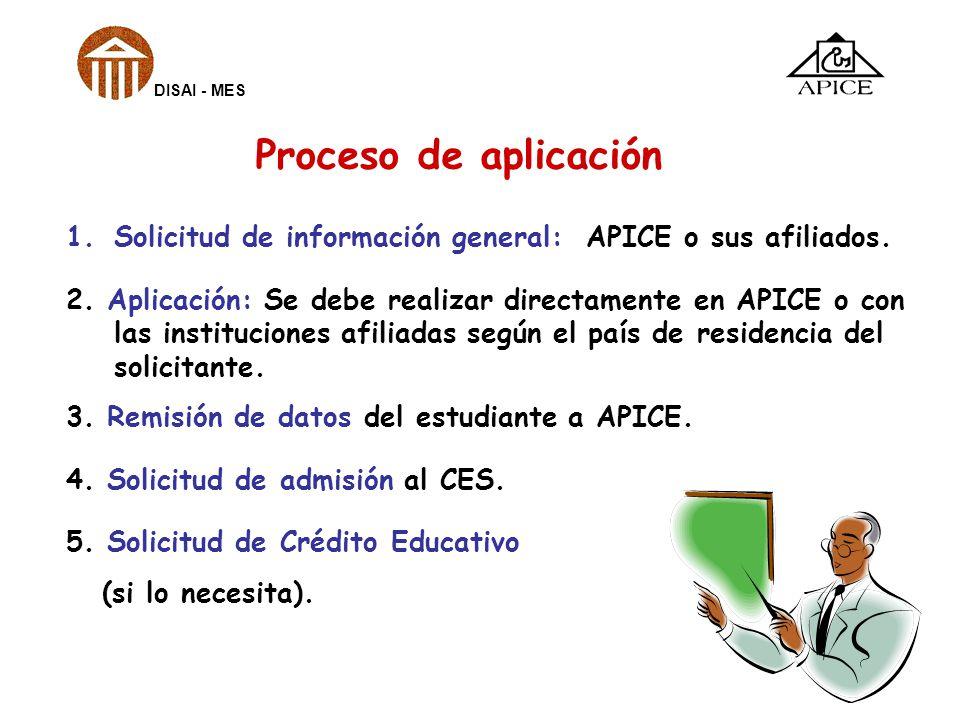 DISAI - MES Proceso de aplicación. Solicitud de información general: APICE o sus afiliados.