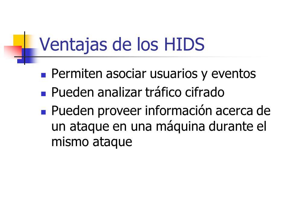 Ventajas de los HIDS Permiten asociar usuarios y eventos