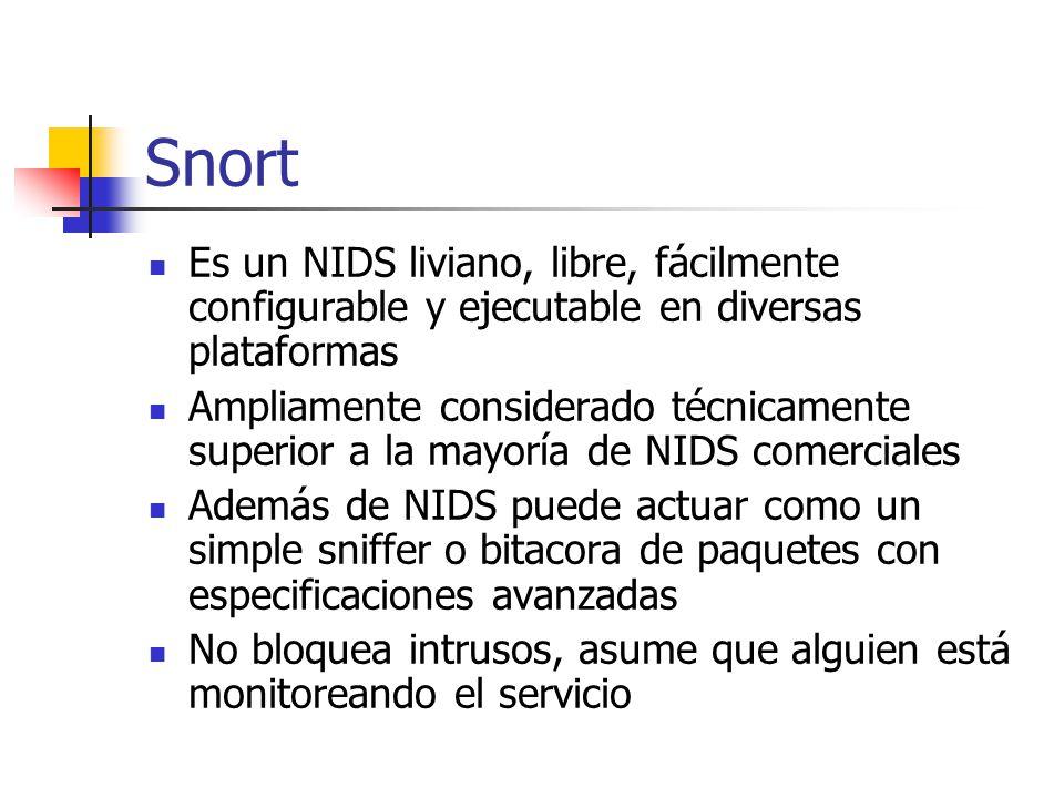 Snort Es un NIDS liviano, libre, fácilmente configurable y ejecutable en diversas plataformas.
