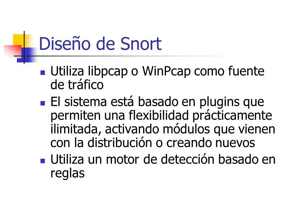 Diseño de Snort Utiliza libpcap o WinPcap como fuente de tráfico