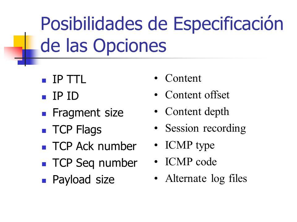 Posibilidades de Especificación de las Opciones