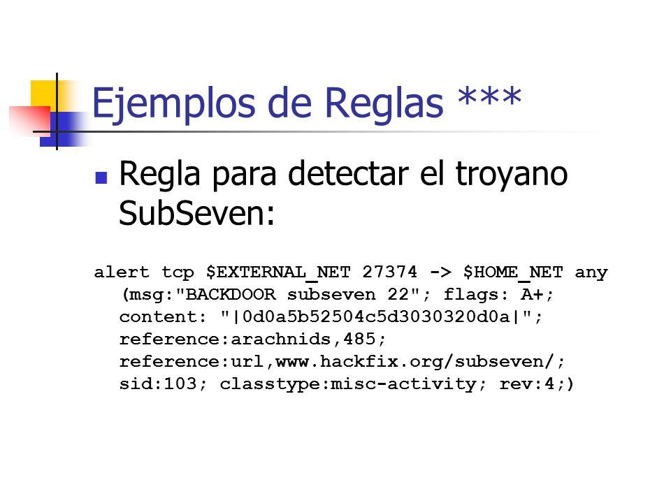 Ejemplos de Reglas *** Regla para detectar el troyano SubSeven: