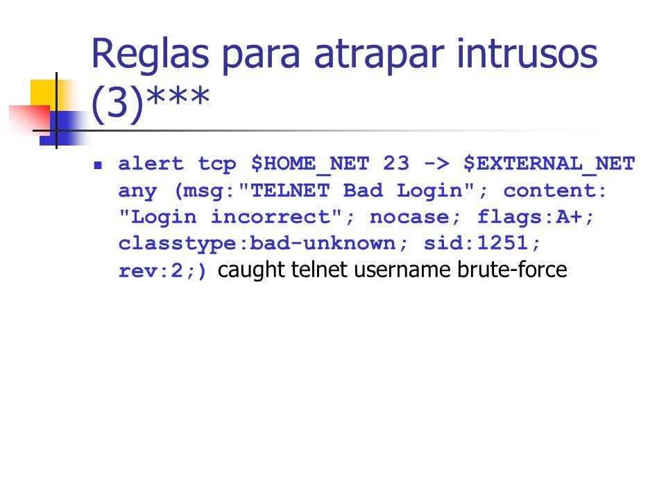 Reglas para atrapar intrusos (3)***