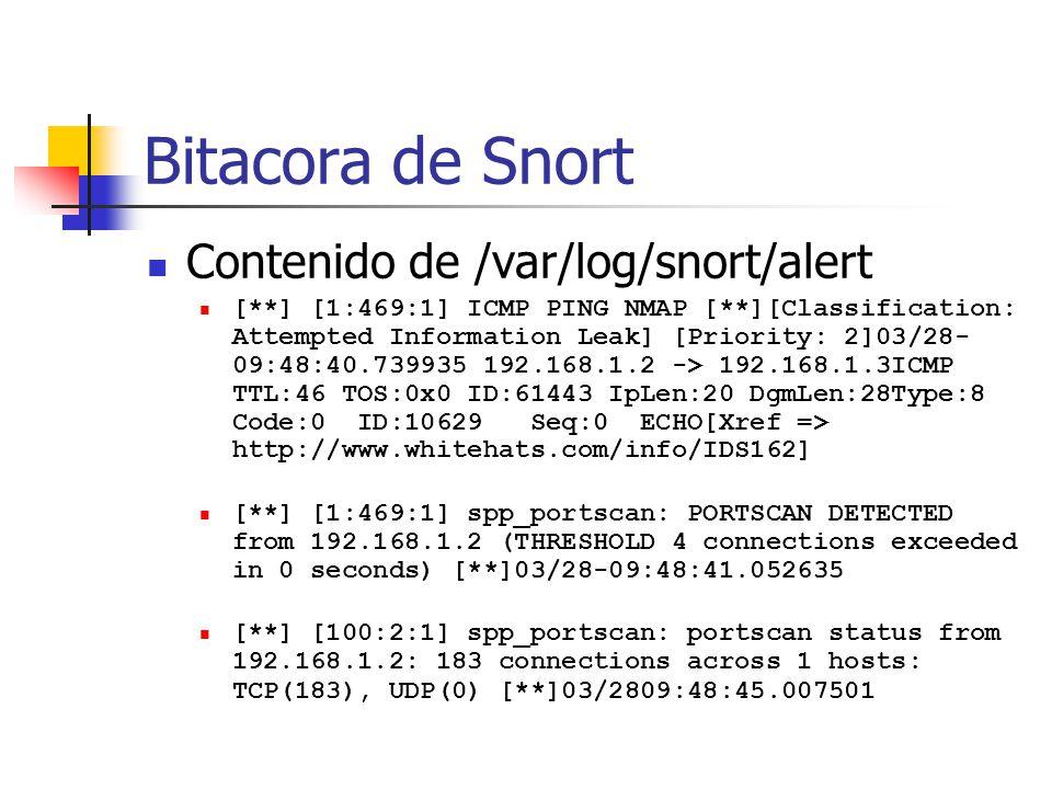 Bitacora de Snort Contenido de /var/log/snort/alert