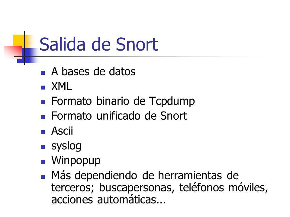 Salida de Snort A bases de datos XML Formato binario de Tcpdump