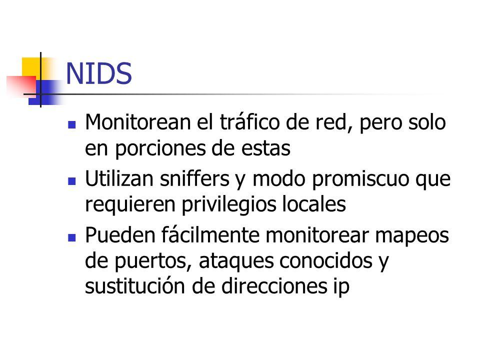NIDS Monitorean el tráfico de red, pero solo en porciones de estas