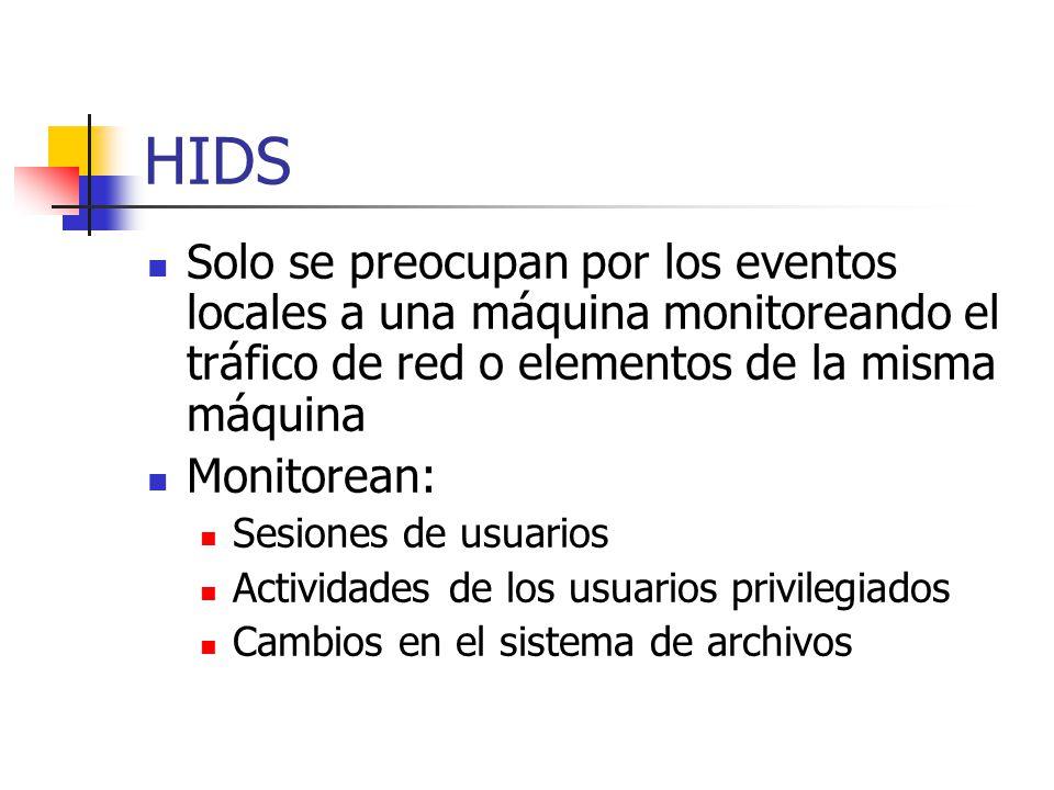HIDS Solo se preocupan por los eventos locales a una máquina monitoreando el tráfico de red o elementos de la misma máquina.