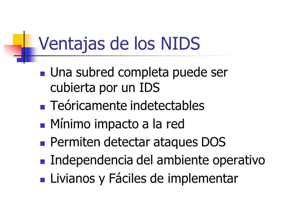 Ventajas de los NIDS Una subred completa puede ser cubierta por un IDS