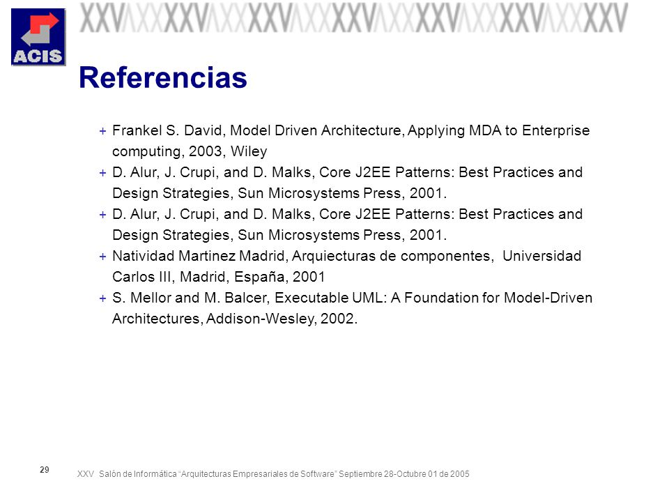 Referencias Frankel S. David, Model Driven Architecture, Applying MDA to Enterprise computing, 2003, Wiley.