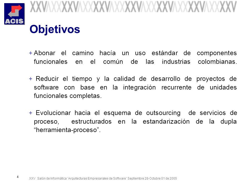 Objetivos Abonar el camino hacía un uso estándar de componentes funcionales en el común de las industrias colombianas.