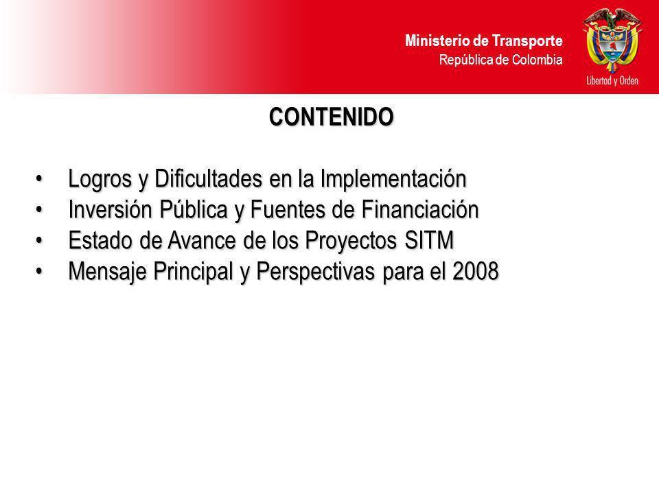 CONTENIDO Logros y Dificultades en la Implementación. Inversión Pública y Fuentes de Financiación.