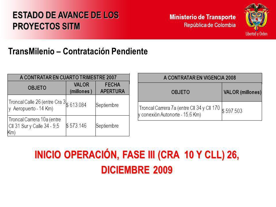 INICIO OPERACIÓN, FASE III (CRA 10 Y CLL) 26, DICIEMBRE 2009