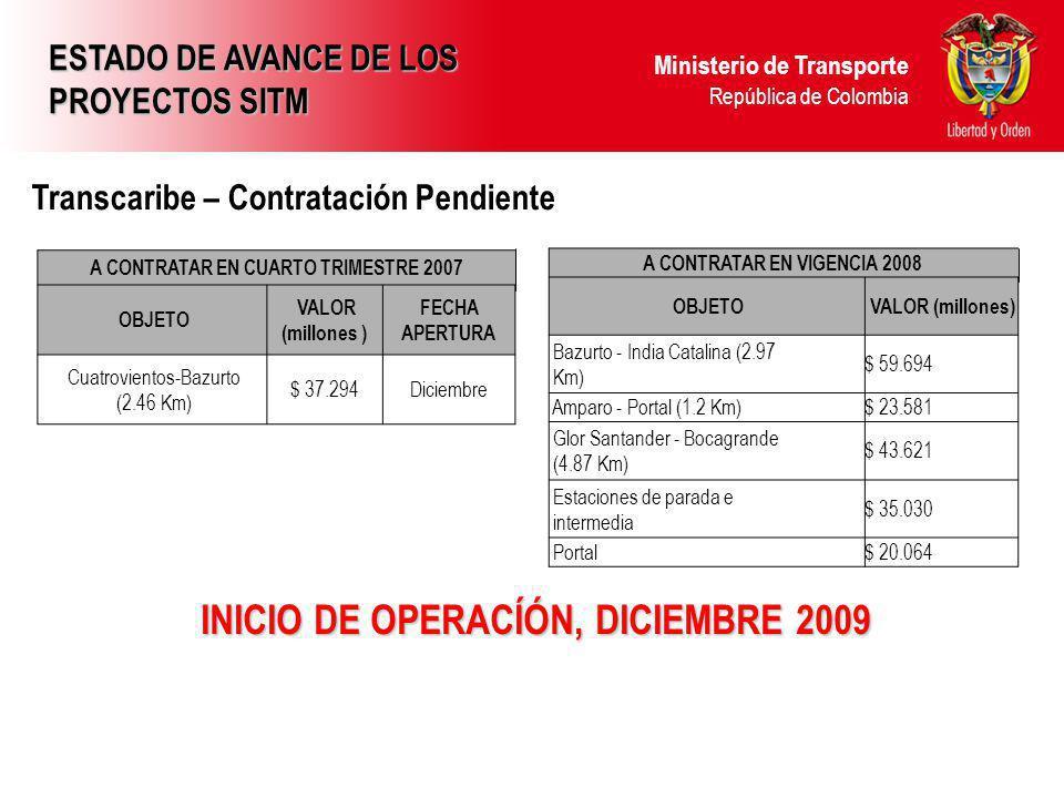 INICIO DE OPERACÍÓN, DICIEMBRE 2009