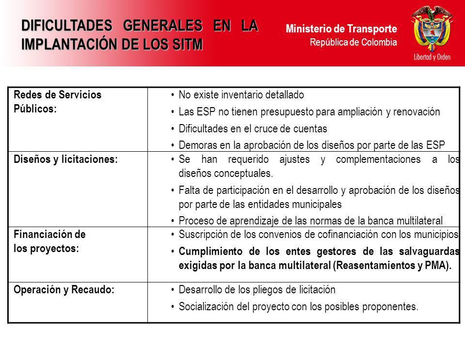 DIFICULTADES GENERALES EN LA IMPLANTACIÓN DE LOS SITM