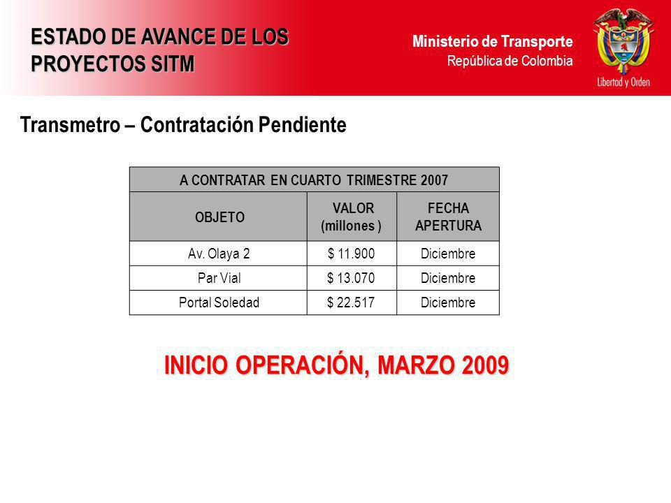A CONTRATAR EN CUARTO TRIMESTRE 2007 INICIO OPERACIÓN, MARZO 2009