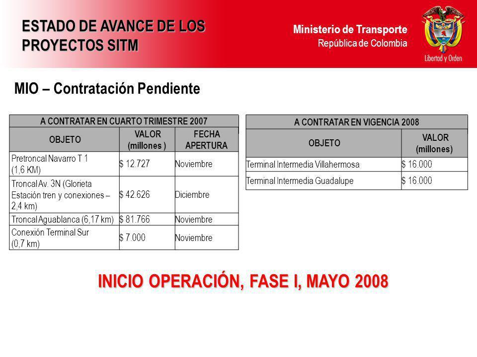 INICIO OPERACIÓN, FASE I, MAYO 2008