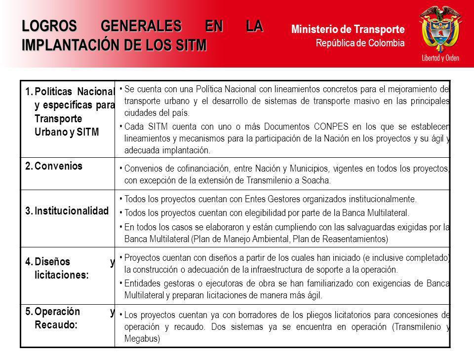 LOGROS GENERALES EN LA IMPLANTACIÓN DE LOS SITM