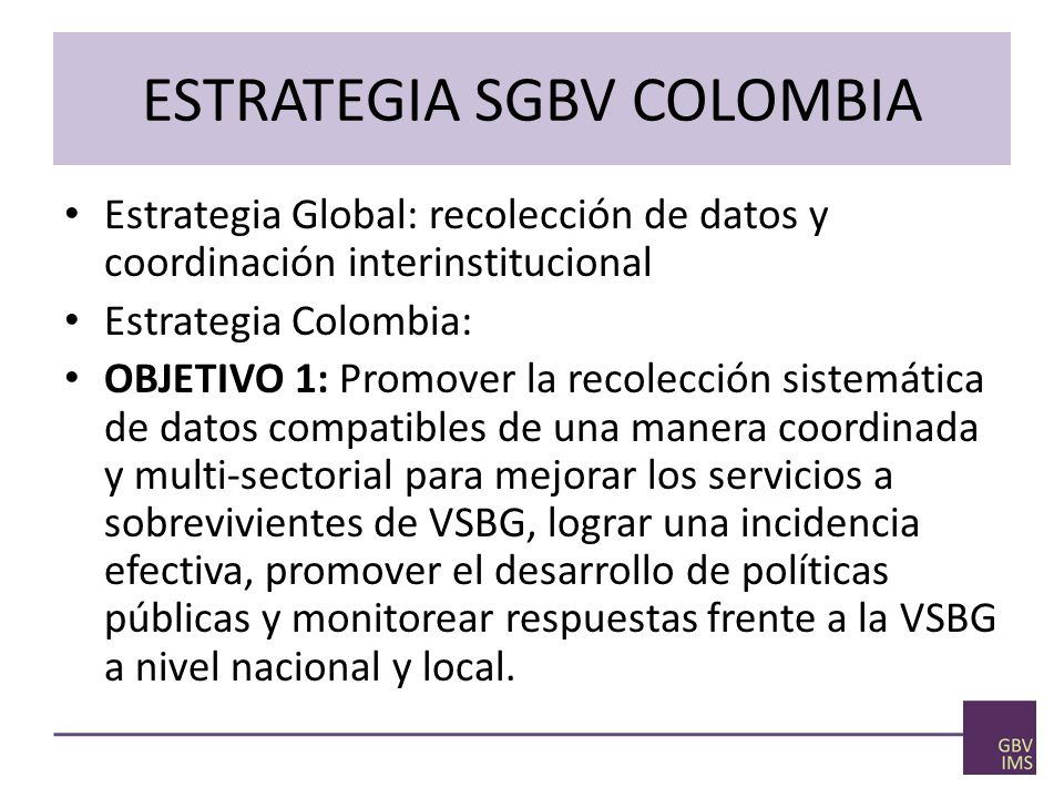 ESTRATEGIA SGBV COLOMBIA