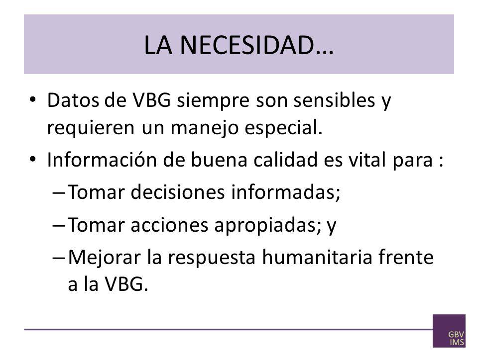 LA NECESIDAD… Datos de VBG siempre son sensibles y requieren un manejo especial. Información de buena calidad es vital para :