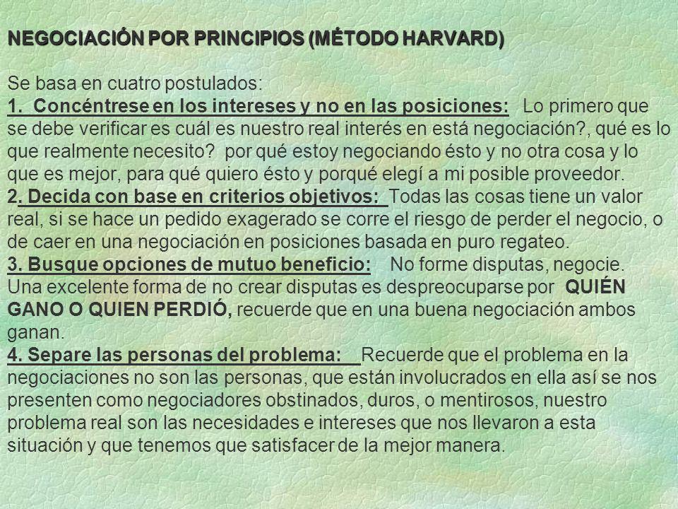 NEGOCIACIÓN POR PRINCIPIOS (MÉTODO HARVARD) Se basa en cuatro postulados: 1.