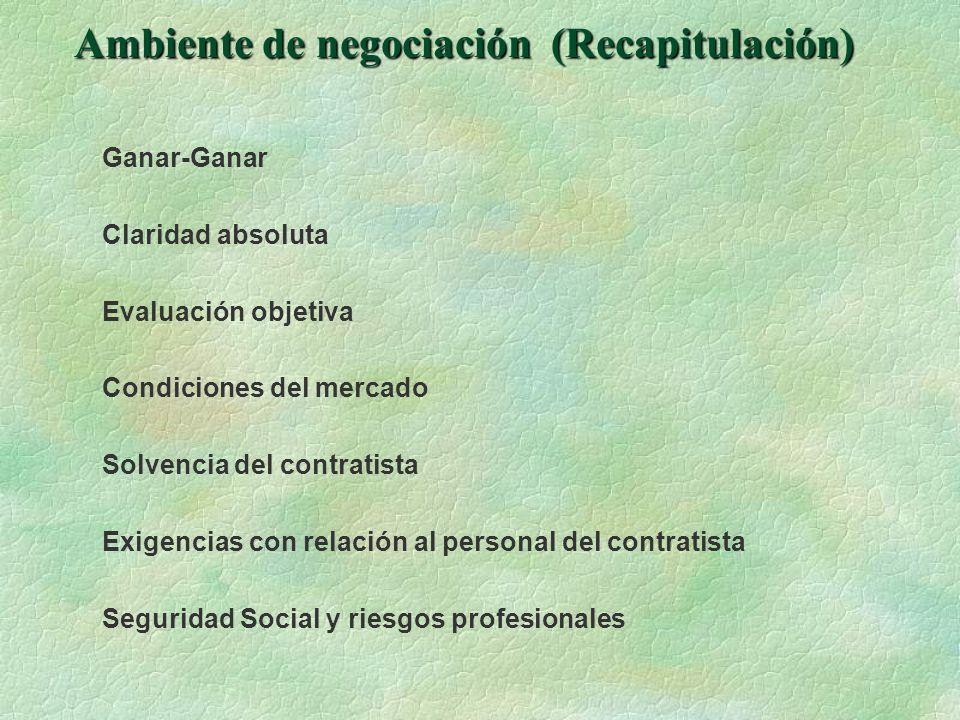 Ambiente de negociación (Recapitulación)