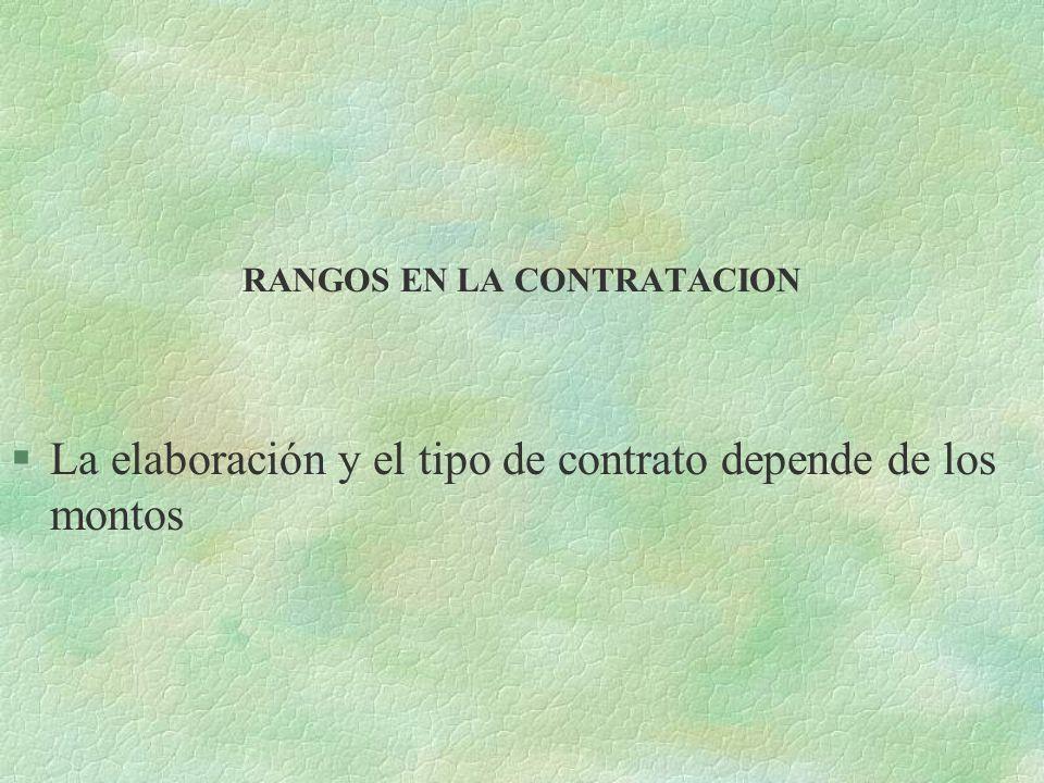 RANGOS EN LA CONTRATACION
