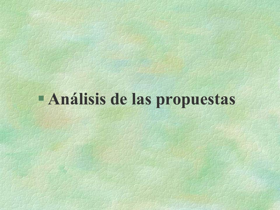 Análisis de las propuestas