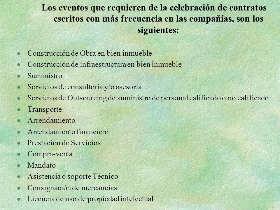 Los eventos que requieren de la celebración de contratos escritos con más frecuencia en las compañías, son los siguientes: