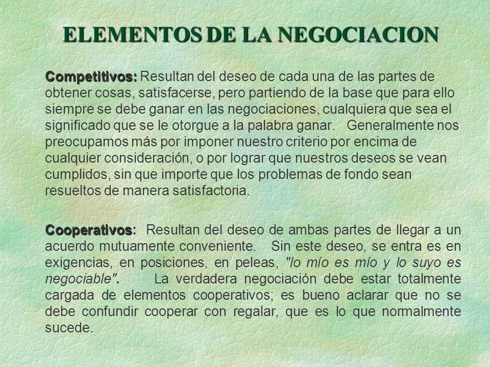 ELEMENTOS DE LA NEGOCIACION